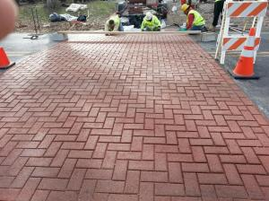 crosswalks brick colored herringbone pattern Adbruf GeoPaveX